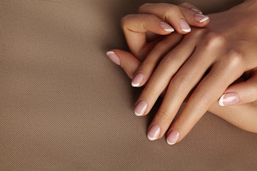 Aluminium Prints Manicure Young Female Palm. Beautiful Glamour Manicure. French Style. Nail polish. Care about Hands and Nails, clean Skin