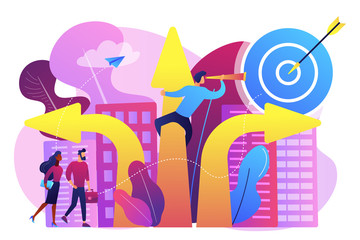 Business people and empolyee choosing new career direction arrow with target. Career change, alternative career, retraining for a new job concept. Bright vibrant violet vector isolated illustration