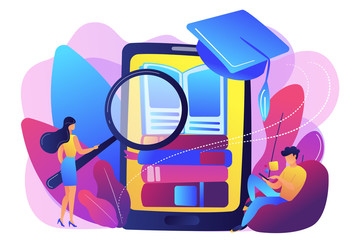 Students with magnifier reading stack of e-books in smartphone education app. Mobile learning, learning application, m-learning education concept. Bright vibrant violet vector isolated illustration