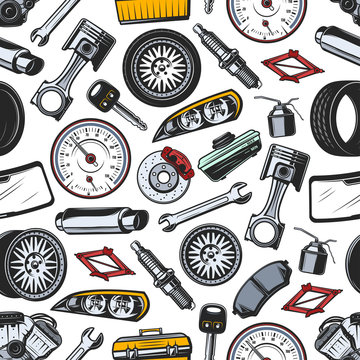 Spare parts of car and auto seamless pattern