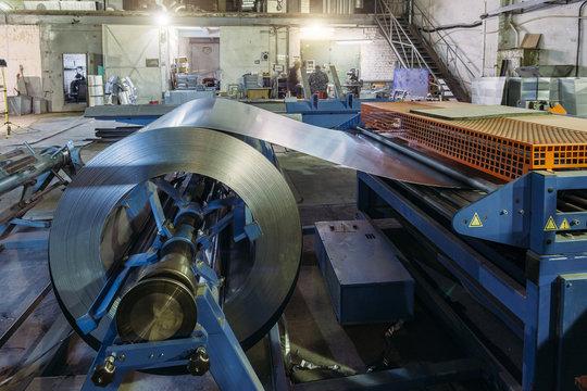 Industrial metal sheet coil for metal sheet forming machine in workshop