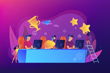 Professional gamers at table taking part in e-sport competition and trophy. E-sports tournament, game official event, e-sports championship concept. Bright vibrant violet vector isolated illustration