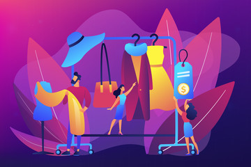 Main master designer creating fashion clothes designs and hanging it on coat rack. Fashion house, clothing design house, fashion production concept. Bright vibrant violet vector isolated illustration Wall mural