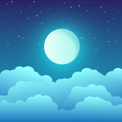 Full moon with clouds and stars in the night sky. Vector illustration