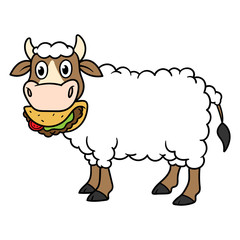 Cartoon Cow With Wool Eating Taco