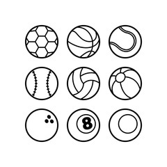 Cartoon Set of Balls in Black and White