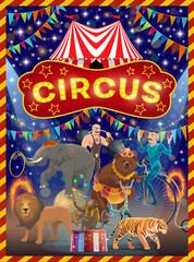 Animals, acrobat and strongman on circus arena