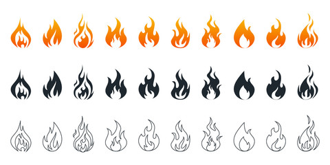 Collection of fire icons. Fire icons set. Fire flames Wall mural