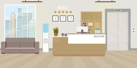 Modern Hotel reception Interior flat design.Room furniture.