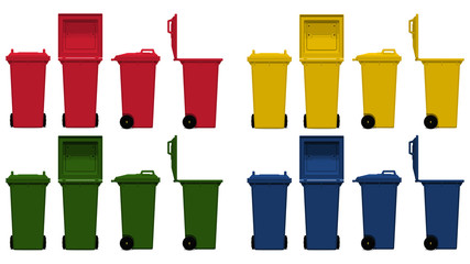 set of isolated bin on transparent background