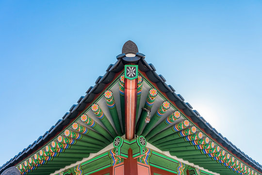 Detail of the roof of the historical building in Gyeongbokgung Palace in Seoul, Korea.