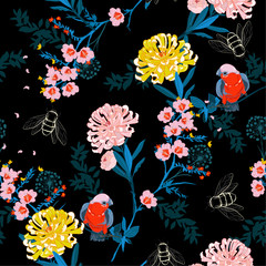 Dark japanese garden night  blooming flowers, branches, leaves and birds. Vector seamless pattern