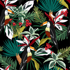Colorful Toucan, exotic birds, tropical flowers, palm leaves, jungle leaf, wild flower seamless vector floral pattern. Tropical forest background