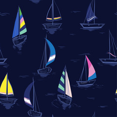 Hand drawing sketch Seamless summer sea pattern with sailing ships on navy blue background.