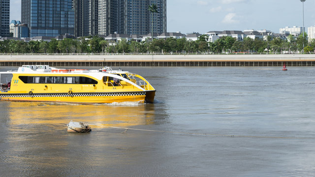 public water boat taxi on the river
