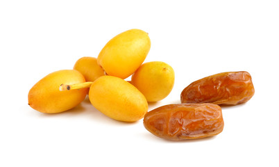 fresh and dry date palm fruit on white background