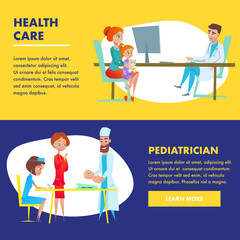 Pediatrician Health Care landing. Flat Characters.