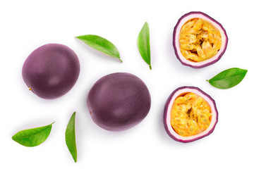 passion fruits and a half with leaves isolated on white background. Isolated maracuya. Top view. Flat lay