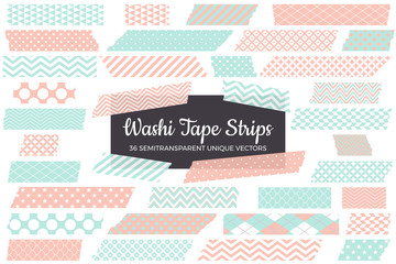 Pastel Mint and Coral Pink Washi Tape Strips with Torn Edges & Different Patterns. 36 Unique Semitransparent Vectors. Photo Sticker, Print / Web Layout Element, Clip Art, Embellishment