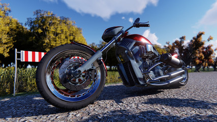 The motorcycle image  3D illustration