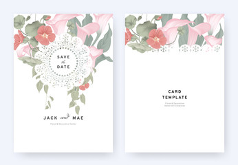 Floral wedding invitation card template design, pink calla lily, red Tropaeolum flowers and leaves with lace frame on white background, pastel vintage theme