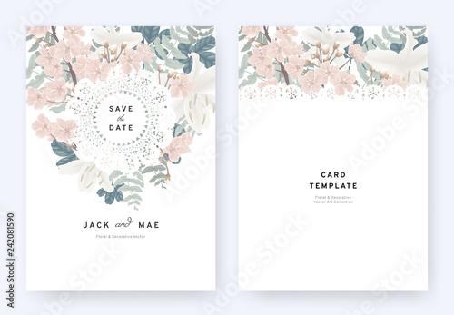 Floral Wedding Invitation Card Template Design Pink Sakura White
