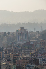 Layers of building and mountain on the background at Kathmandu, Nepal.