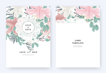 Floral wedding invitation card template design, white, pink lily flowers and leaves with lace frame on white background, pastel vintage theme