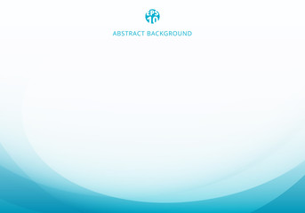 Abstract elegant blue light curve template on white background with copy space.