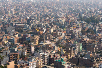 Aerial view of the dense city of Kathmandu, Nepal.