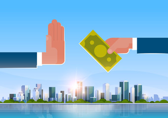 businessman refusing offered bribe offers money refusal hand gesture stop corruption concept over big modern city building skyscraper cityscape skyline flat horizontal