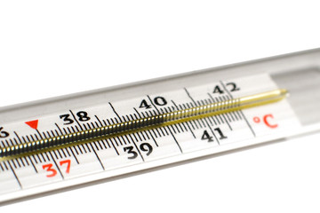 Glass mercury thermometer. Medical thermometer.
