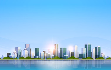 big modern city building skyscraper panoramic view sunrise cityscape background skyline flat horizontal
