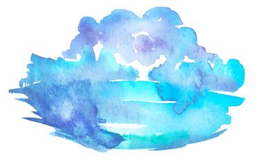 Watercolor blue, green background, blot, blob, splash of blue, green paint on white background. Watercolor blue, green sky, spot, abstraction. Abstract art illustration, scenic background. Ink drop