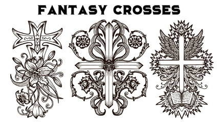 Design set with fantasy crosses with baroque pattern, flowers and wings isolated on white. Vintage vector decorative religious illustration, old gothic graphic drawings