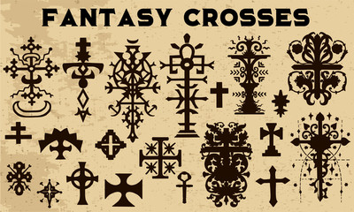 Design collection with black silhouettes of fantasy crosses. Vintage vector decorative religious illustration, old gothic graphic drawings
