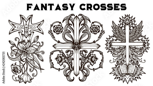 Design Set With Fantasy Crosses With Baroque Pattern Flowers And