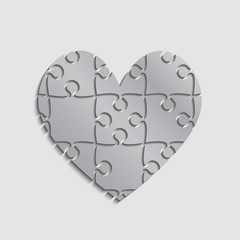 Silver Puzzle Pieces Heart Valentine Day Love.