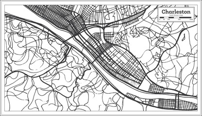 Charleston USA City Map in Retro Style. Outline Map.