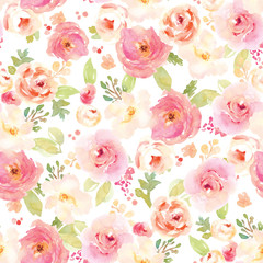 Vintage Painted Floral Pattern Background. Seamless Flowers Background for Fashion Design