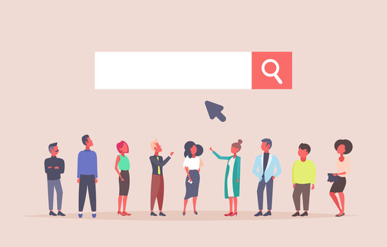 business people team over web search bar online internet browsing concept website development flat horizontal