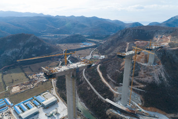 Construction of bridge of a new highway through the Moraca canyon in Montenegro