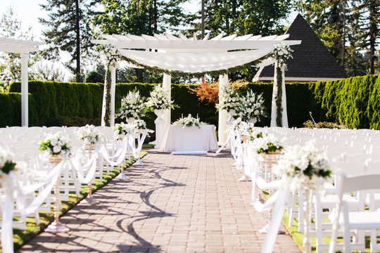 beautiful wedding ceremony site before and after wedding empty