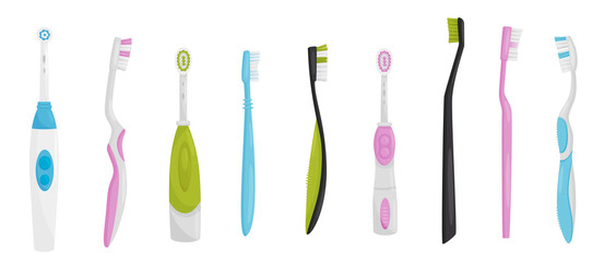 Flat vector set of electric and manual toothbrushes. Oral hygiene instruments. Health and teeth care theme