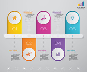 5 steps timeline infographic element. 10 steps infographic, vector banner can be used for workflow layout, diagram,presentation, education or any number option. EPS10.