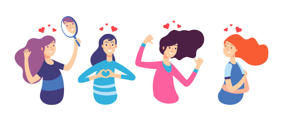 Love yourself. Narcissistic, self-confident people hugged themselves. Loving oneself men and women. Vector characters set. Illustration of yourself girl and self-esteem
