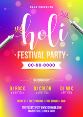 Holi festival party template or invitation card with time, date and venue details.
