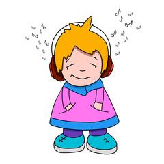 Stock Illustration Cartoon Girl in Headphones