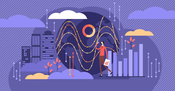 Big data vector illustration. Tiny person with server visualization concept