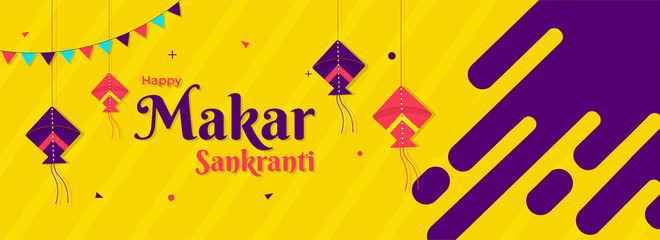 Happy Makar Sankranti header or banner design decorated with hanging colorful kites on yellow abstract background.